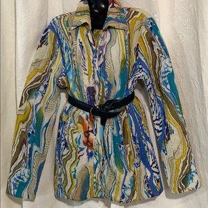 LN UbU reversible crinkle A-line jacket.